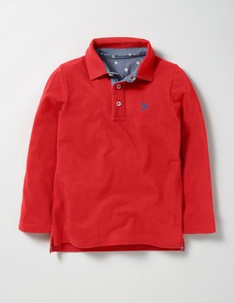 Long-sleeved Piqué Polo Shirt Ziggy Red Boys Boden