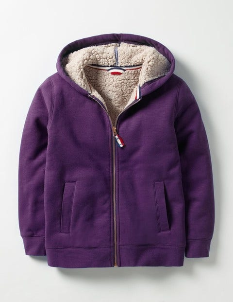 Borg-lined Zip-up Hoodie Winter Purple Boys Boden