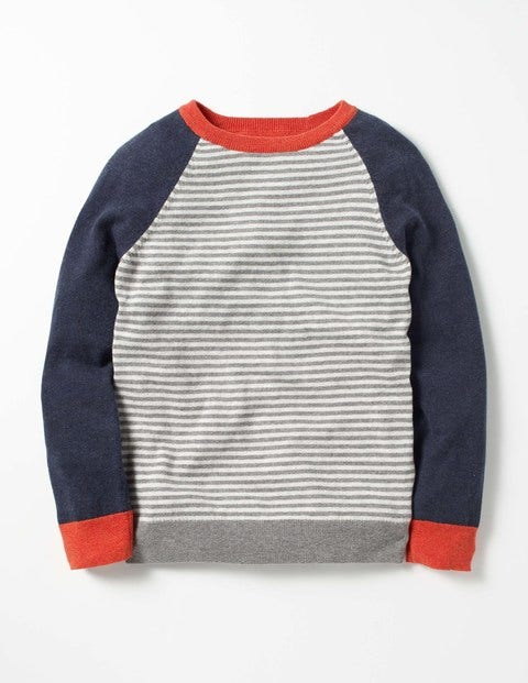 Stripy Crew Sweater Grey Marl/Navy Marl Boys Boden