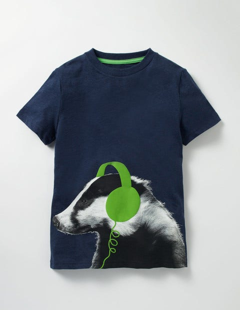 Photographic T-shirt Navy Marl Badger Boys Boden