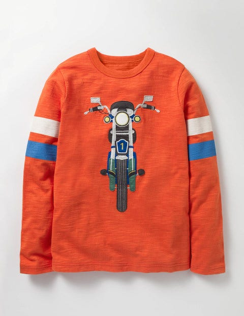 Sporty Vehicle T-shirt Ziggy Red Bike Boys Boden, Red