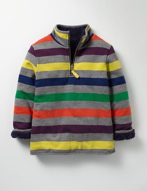 Reversible Half-zip Sweatshirt Grey Marl Multi Boys Boden