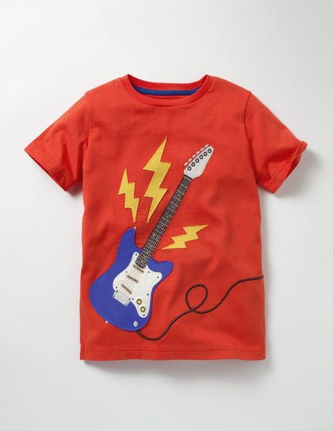 Music Appliqué T-shirt Ziggy Red Guitar Boys Boden
