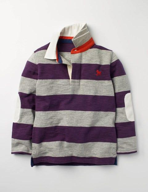 Slub Rugby Shirt Winter Purple/Grey Marl Boys Boden