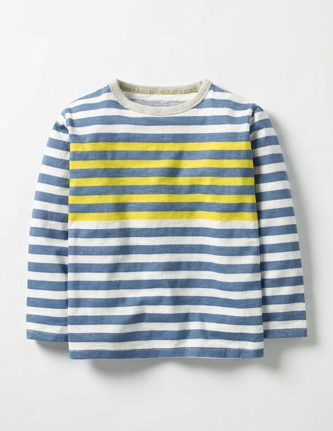 Stripy T-shirt Ecru/Space Blue Boys Boden