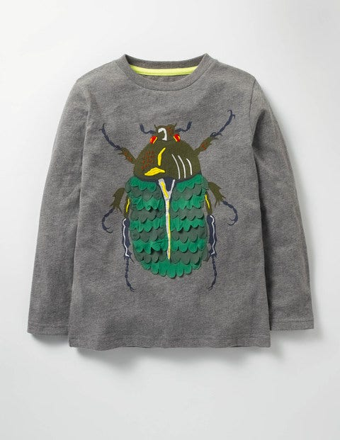Textured Creature T-shirt Grey Marl Beetle Boys Boden
