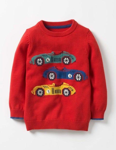 Wild Adventure Crew Sweater Beatnik Red Cars Boys Boden