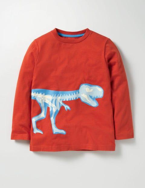 Glow-in-the-dark Dino T-shirt Autumn Spice Orange T-rex Boys Boden