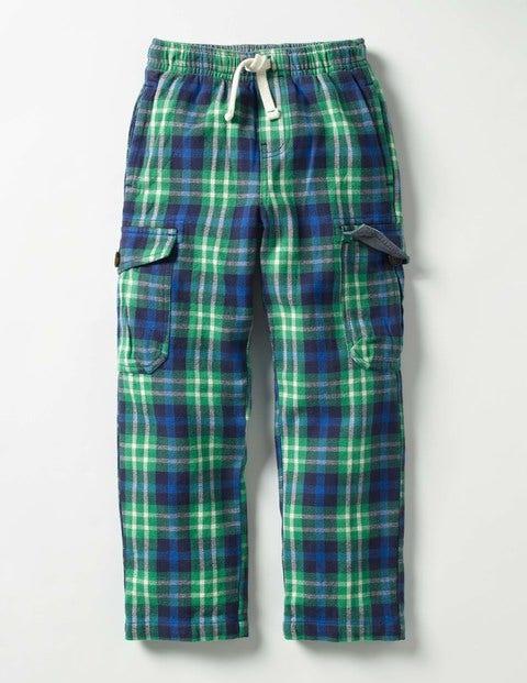 Brushed Tartan Cargos Wild Green/Klein Blue Check Boys Boden