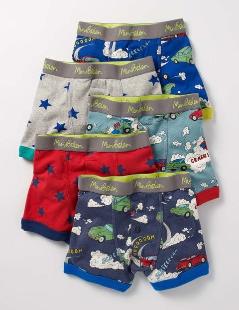 5 Pack Boxers Car Chase Boys Boden