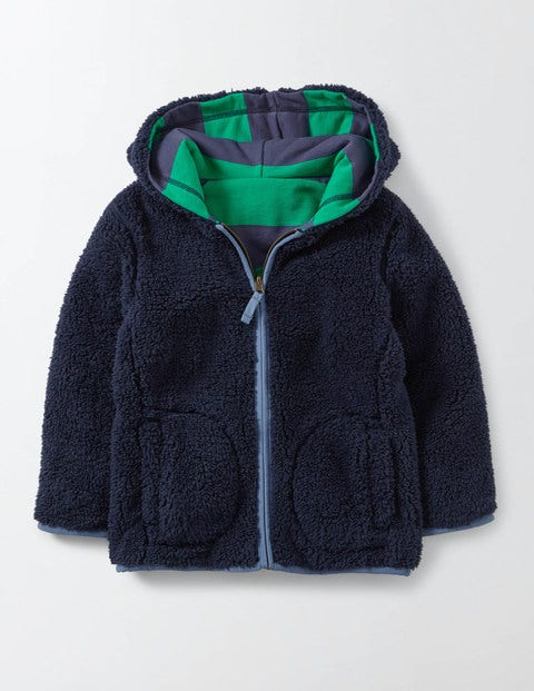 Reversible Shaggy Hoody Mystic and Astro Green Stripe Boys Boden Mystic and Astro Green Stripe