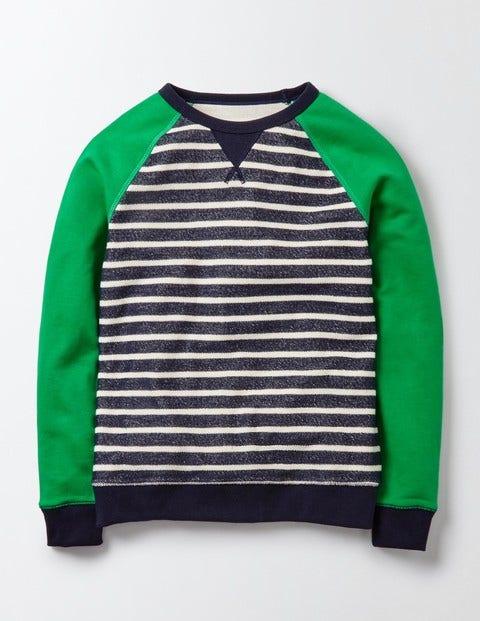 Essential Sweatshirt Navy and Ivory Stripe Boys Boden Navy and Ivory Stripe