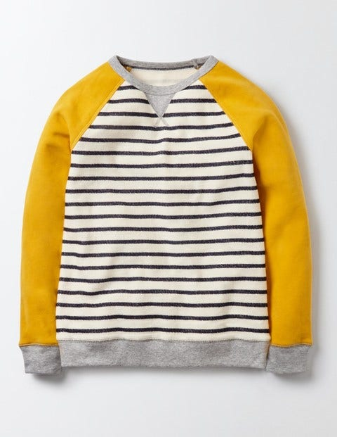Essential Sweatshirt Ivory and Mini Navy Stripe Boys Boden Ivory and Mini Navy Stripe