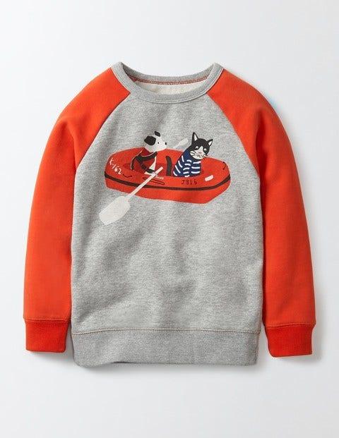 Fun Coastal Sweatshirt Grey Marl Boys Boden, Grey Marl