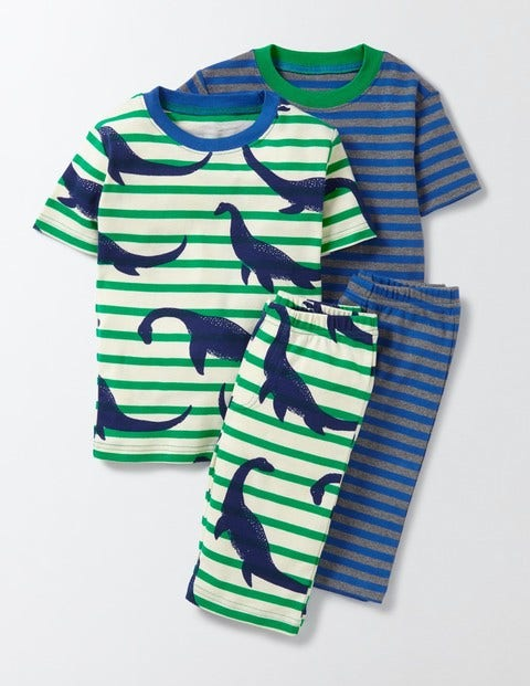 Cosy Twin Pack Short Johns Beacon Nessie Stripe Boys Boden, Beacon Nessie Stripe