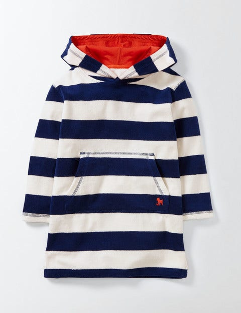 Towelling Throw-on Beacon and Ivory Stripe Boys Boden, Beacon and Ivory Stripe.