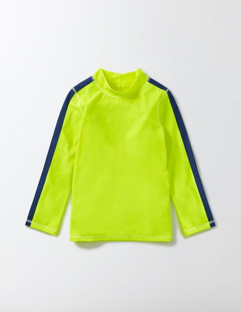 Rash Vest Neon Yellow Boys Boden, Yellow