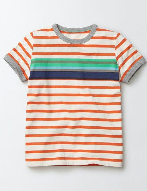 Colourblock Stripe T-Shirt Ivory and Marmalade Stripe Boys Boden