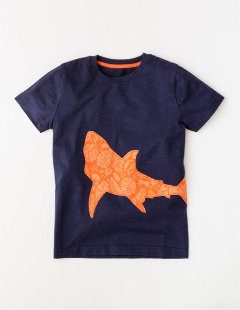 Patchwork Animal T-shirt Navy Shark Boys Boden, Navy Shark