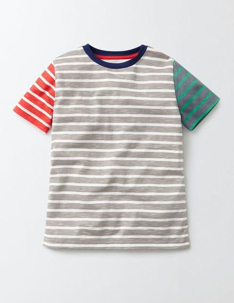 Short Sleeve Stripe T-Shirt Grey Marl and Ecru Stripe Boys Boden, Grey Marl and Ecru Stripe