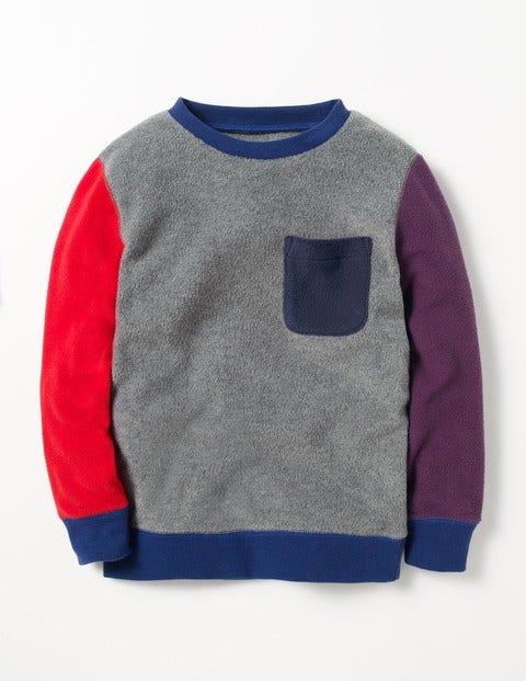 Colourblock Fleece Sweatshirt Grey Marl Boys Boden