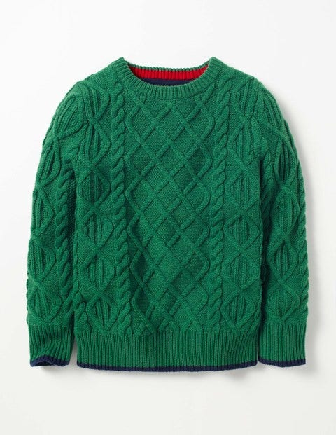 Cable Crew Sweater Crocodile Green Boys Boden