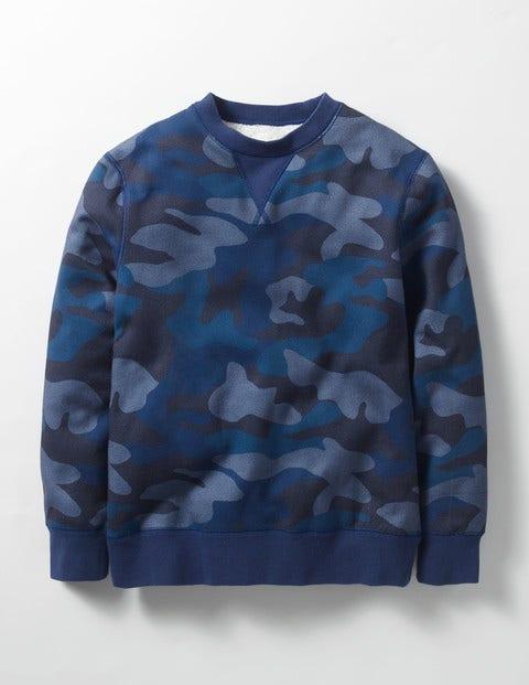 Shaggy-lined Sweatshirt Navy Camo Boys Boden
