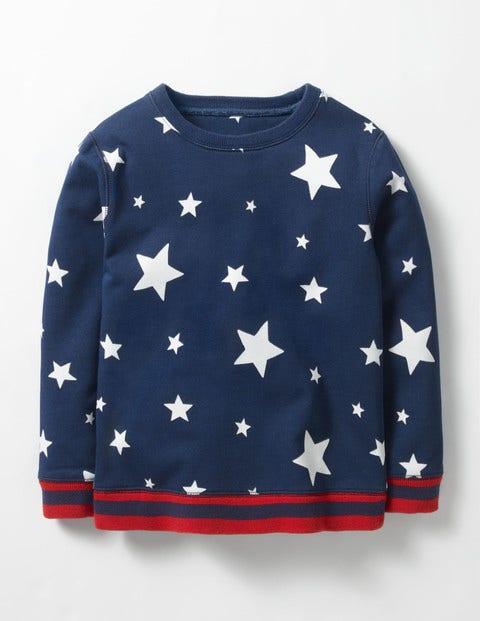 Glowing Space Sweatshirt Navy Stars Boys Boden