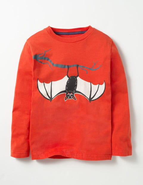 Spooky Glow T-shirt Ziggy Red Bat Boys Boden