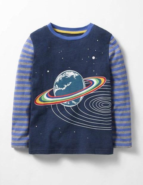 Glow-in-the-dark Space T-shirt Gymnasium Blue Saturn Boys Boden