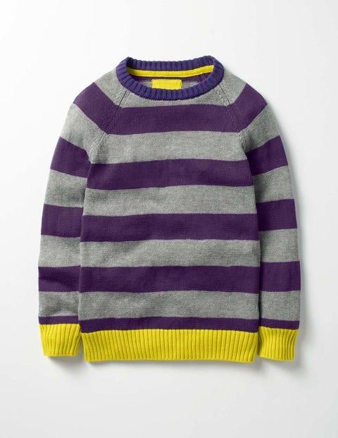 Stripy Raglan Crew Sweater Winter Purple/Cloud Grey Boys Boden