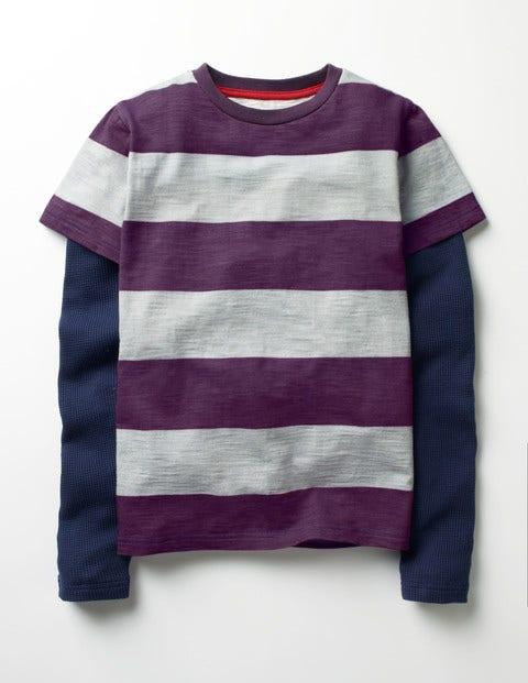 Layered Stripe T-shirt Winter Purple/Grey Marl Boys Boden