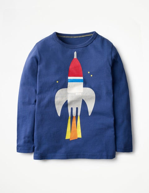 Long-sleeved Graphic T-shirt Beacon Blue Rocket Boys Boden