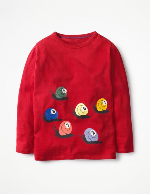 Long-sleeved Graphic T-shirt Engine Red Snooker Boys Boden