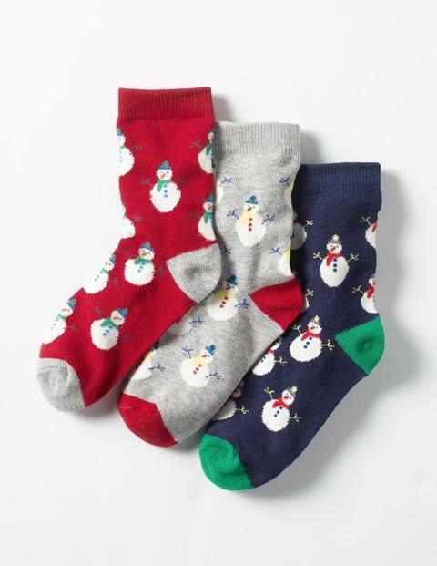 3 Pack Festive Socks Festive Snowman Boys Boden