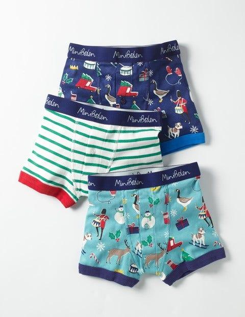 3 Pack Festive Boxers Festive Fun/Stripe Boys Boden