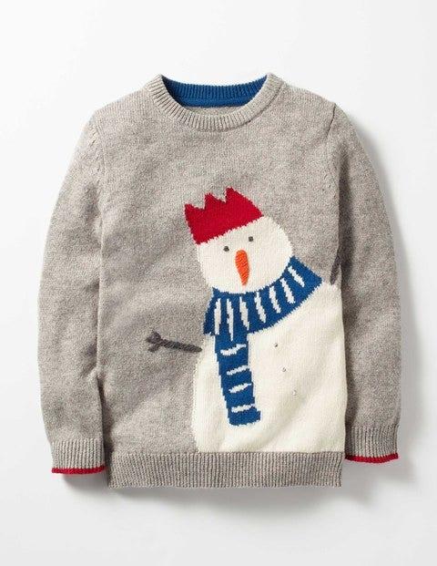 Festive Crew Sweater Silver Grey Snowman Boys Boden