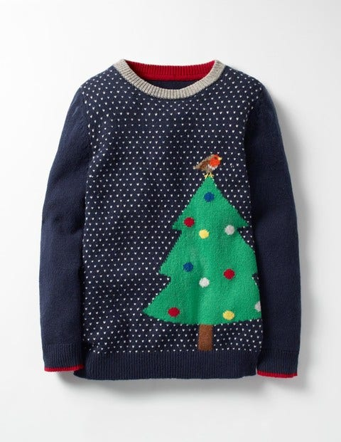 Festive Crew Sweater Navy Christmas Tree Boys Boden