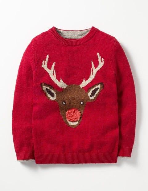 Festive Crew Sweater Claret Red Reindeer Boys Boden