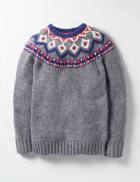 Chunky Fair Isle Crew Sweater Sidewalk Grey Fair Isle Boys Boden