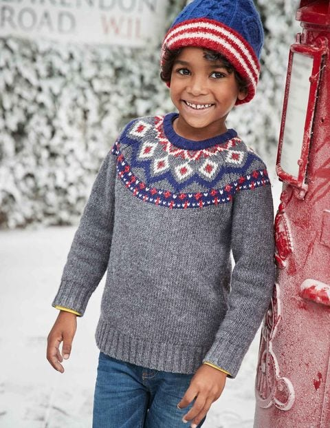 Chunky Fair Isle Crew Sweater B0156 Knitted Sweaters at Boden