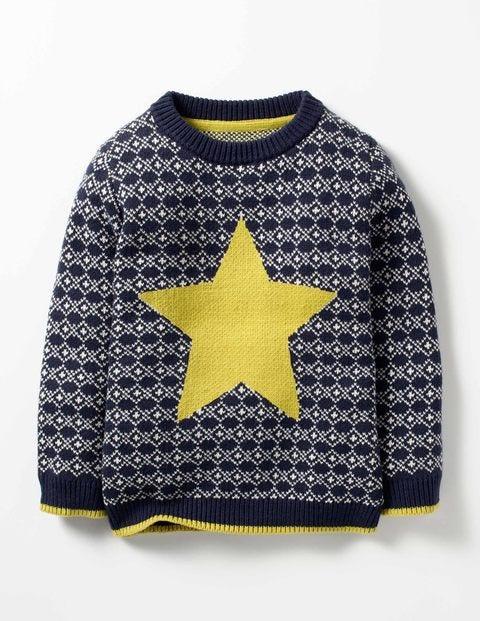Festive Fair Isle Crew Sweater Bright Navy Fair Isle Star Boys Boden