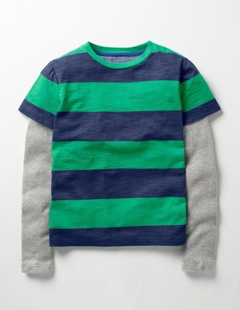 Layered Stripe T-shirt Astro Green/Beacon Blue Boys Boden