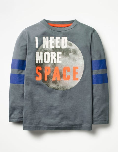 I Need More Space T-Shirt Grey Boys Boden, Grey