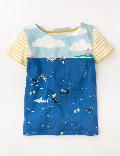 Summer Hotchpotch T-shirt Pool Blue Underwater Explorers Girls Boden, Pool Blue Underwater Explorers