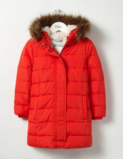 Long Padded Jacket Rosehip Red Girls Boden