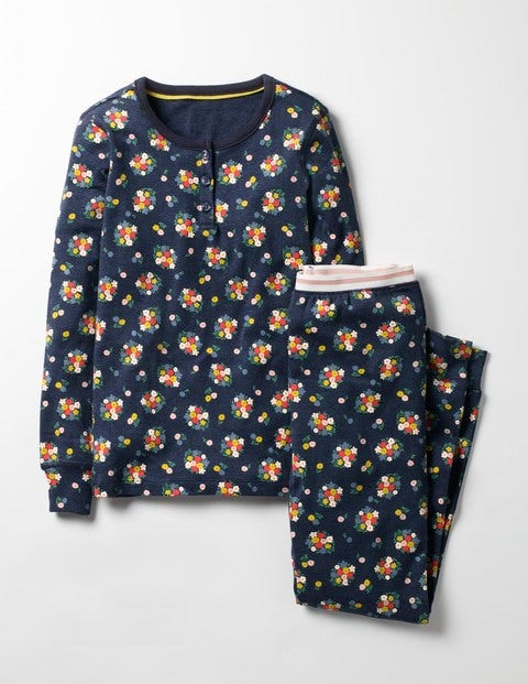 Henley Pyjama Set Navy Marl Flower Bunch Girls Boden, Navy.