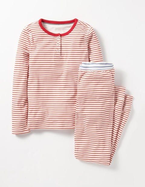 Henley Pyjama Set Jam Red/Ivory Girls Boden, Pink.