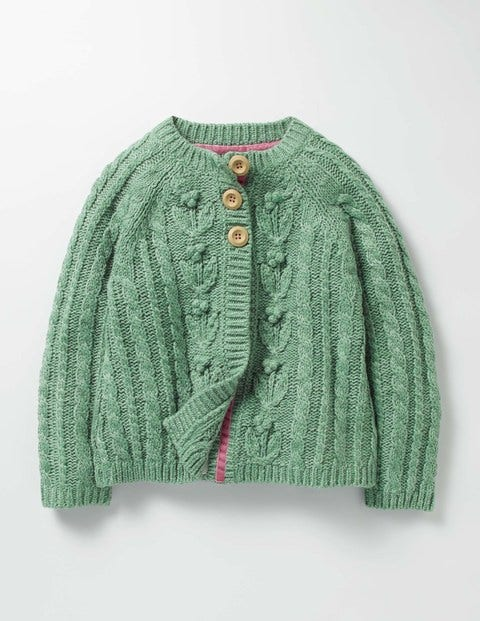 Cable Cardigan Csarite Green Girls Boden