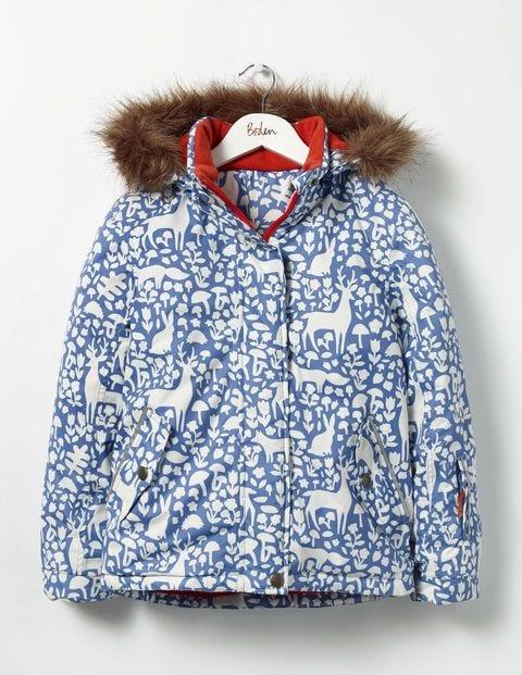 All-weather Waterproof Jacket Bluebell Blue Woodland Stencil Girls Boden
